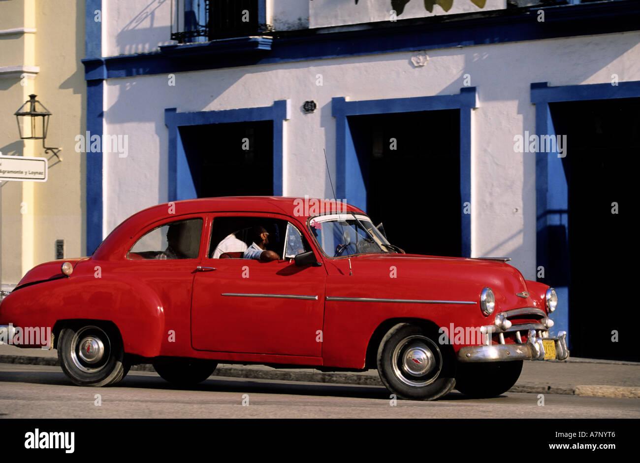 Cuba, Sancti Spiritus, old American car of the 50's - Stock Image