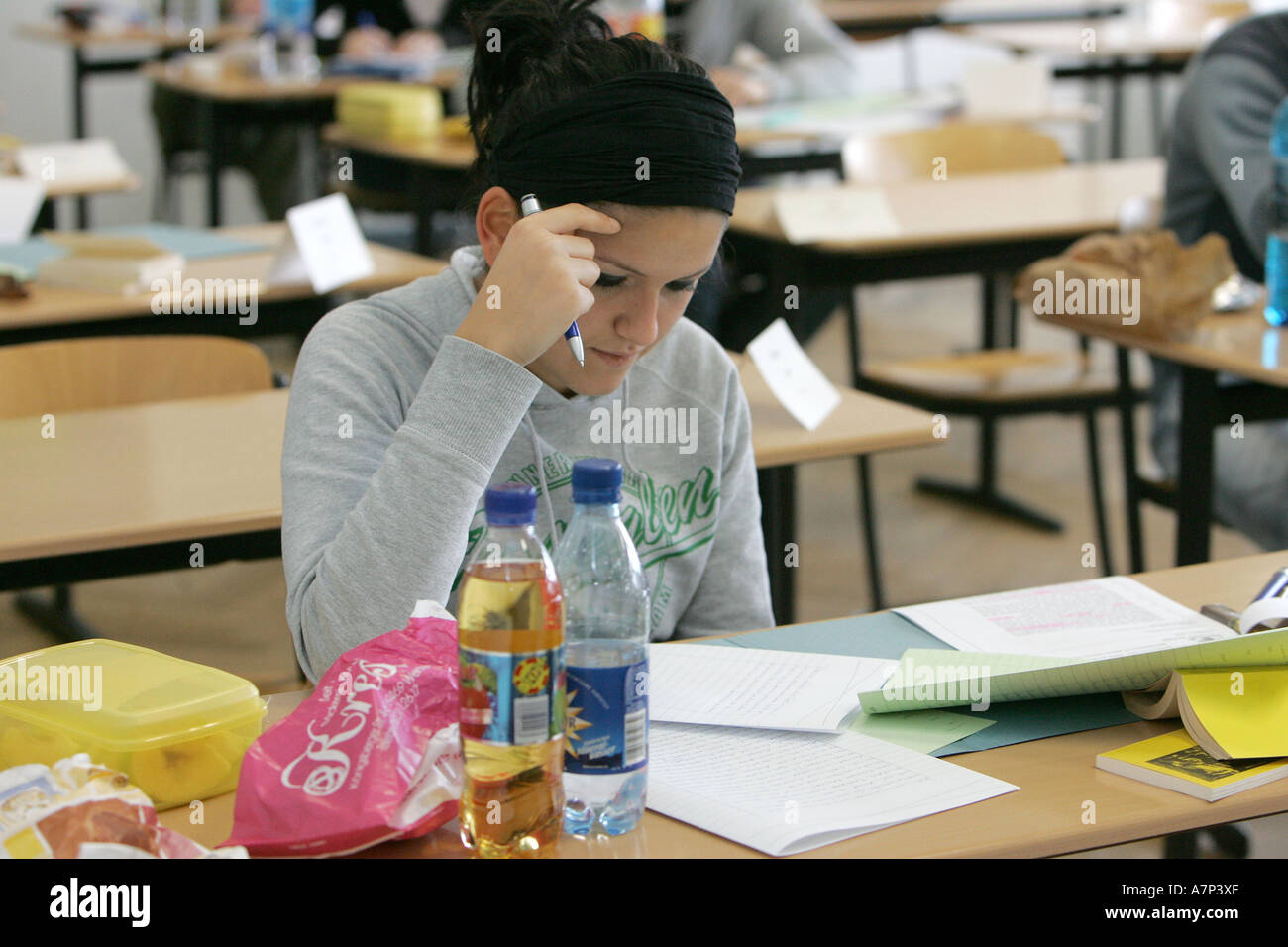 DEU, Germany, girl at college admission examination, - Stock Image