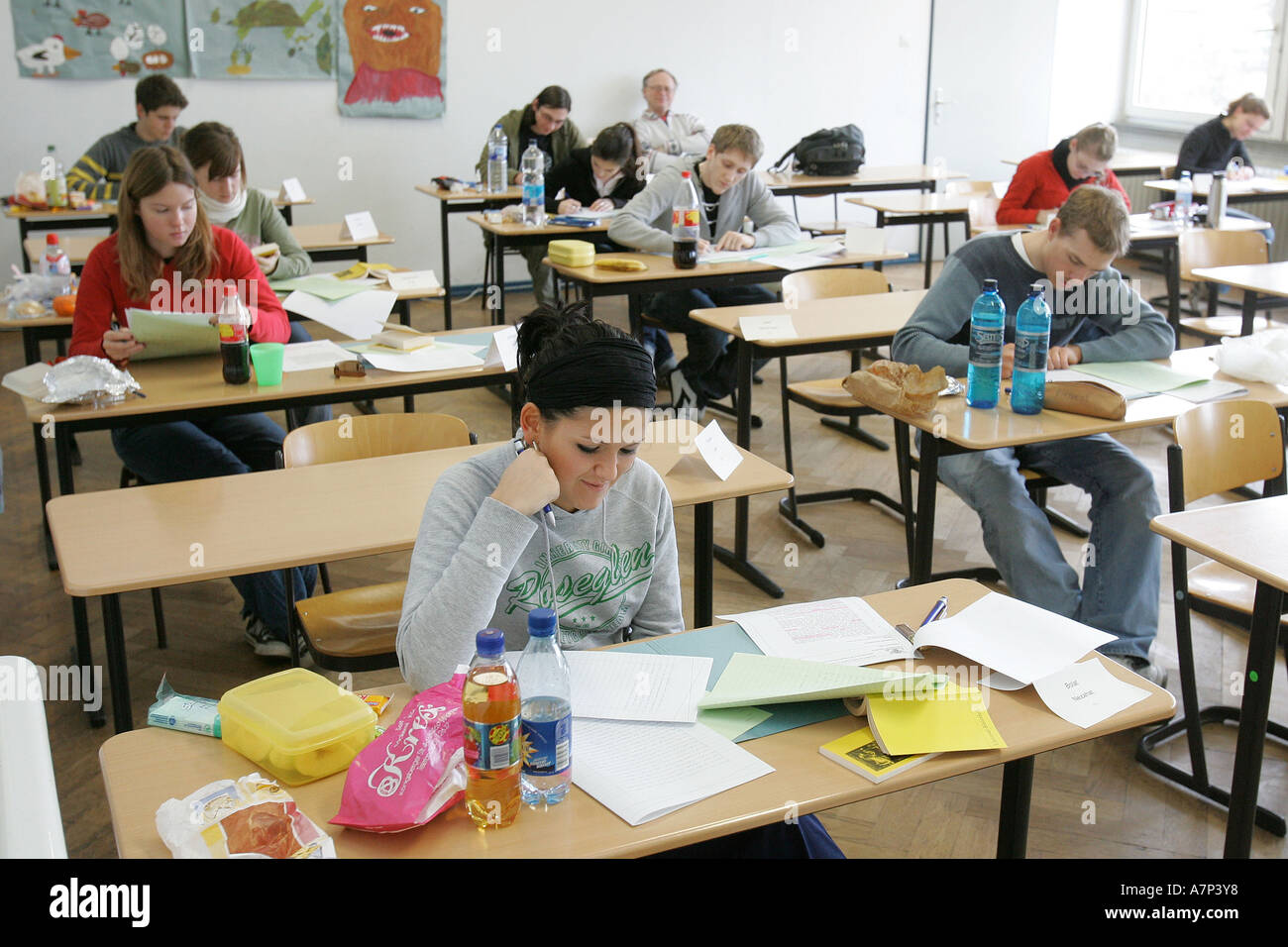 DEU, Germany, teenagers at college admission examination, - Stock Image