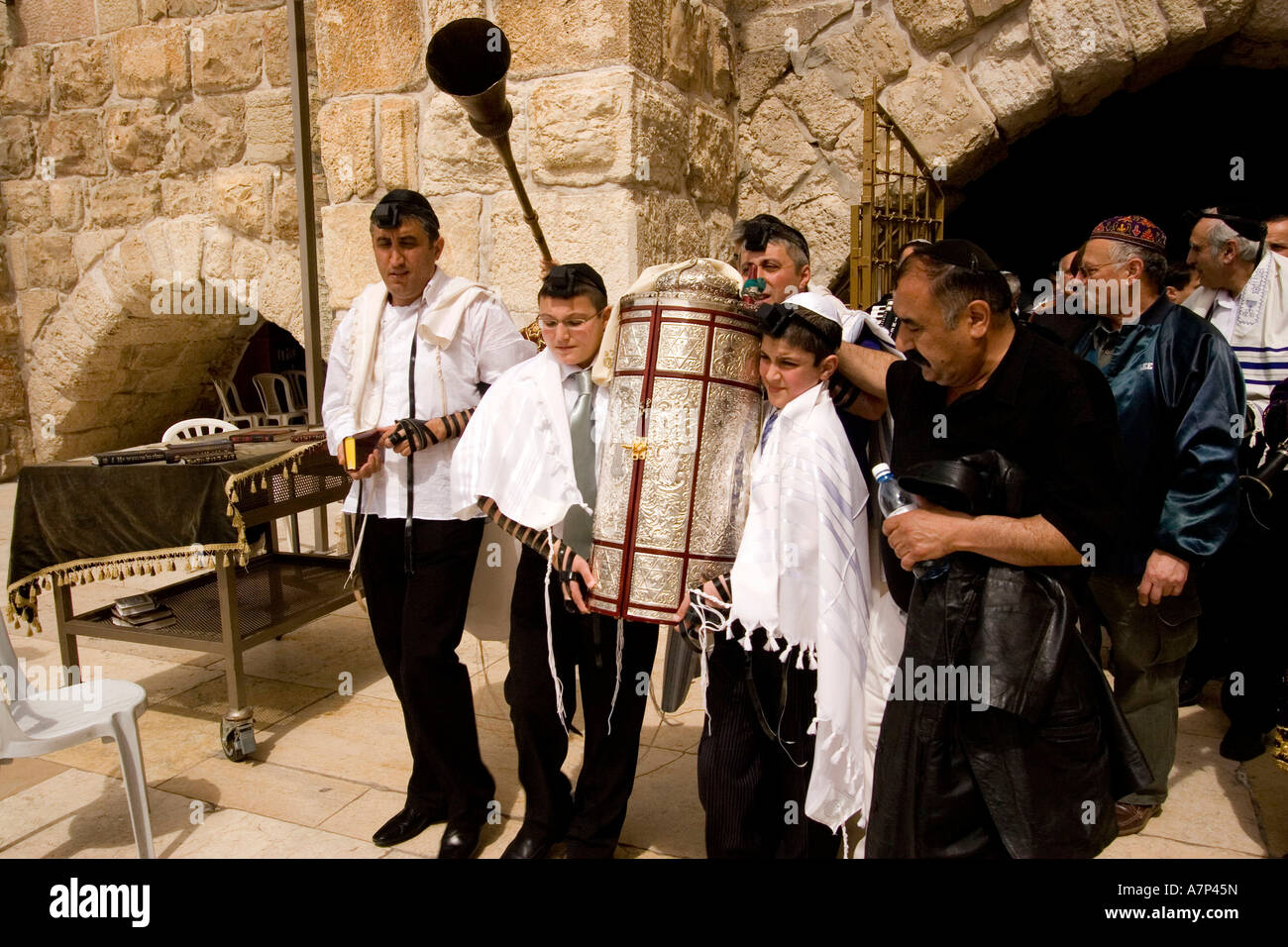 bar-mitzvah boys carrying torah scroll jerusalem israel - Stock Image