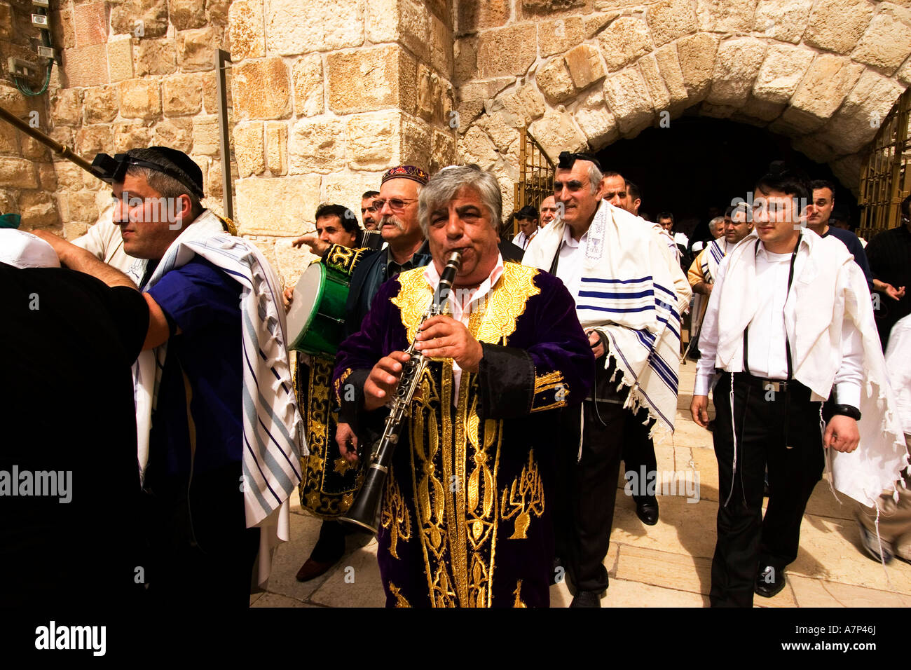 bukharan jews celebrating bar mitzvah ceremony at western wall jerusalem israel - Stock Image