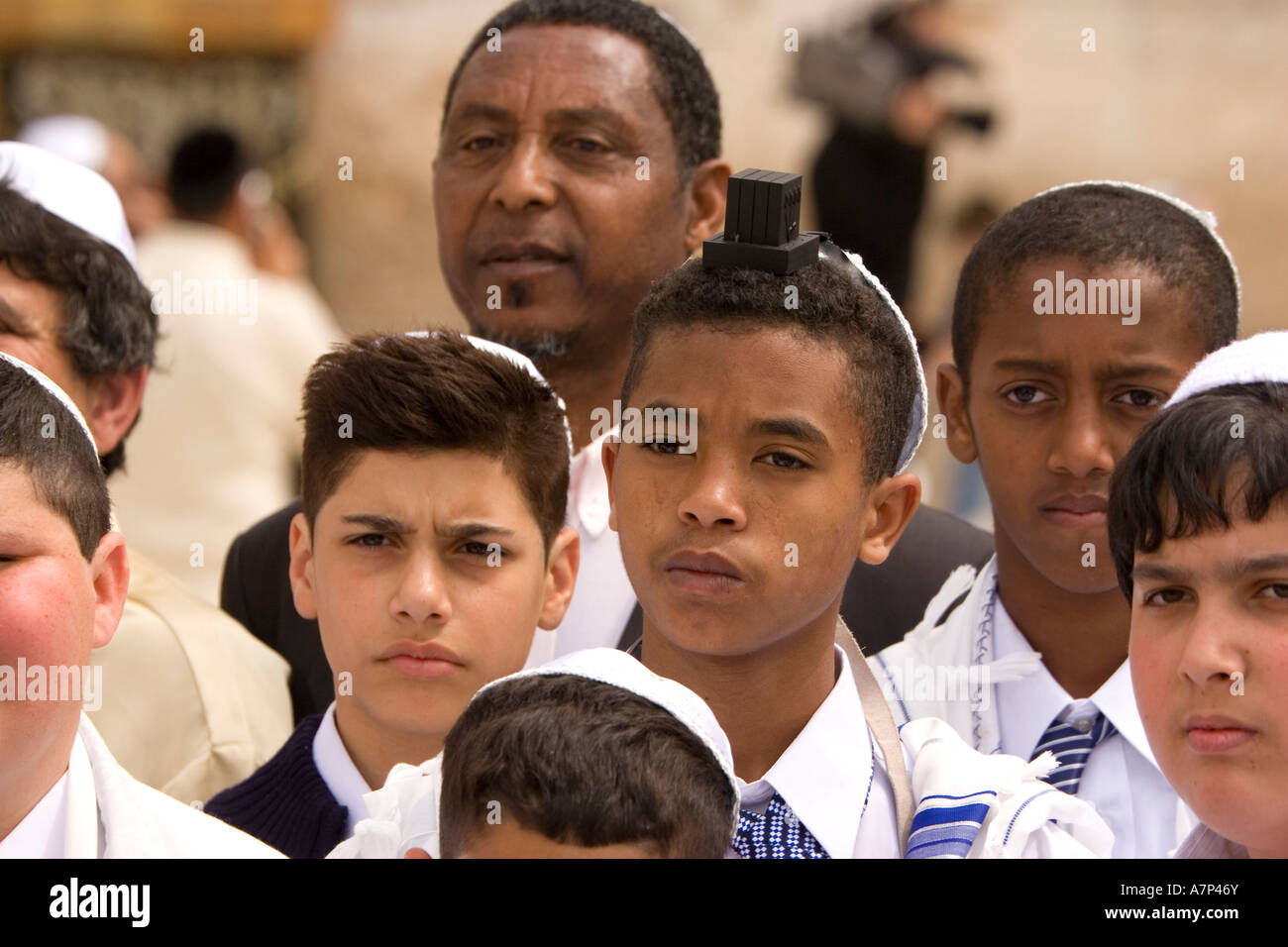 group portrait of bar mitzvah boys in jerusalem israel - Stock Image