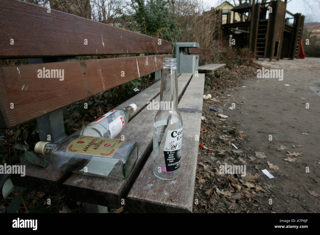 DEU, Germany, teenagers meet at playgrounds to drink alcohol, the empy bottles remain - Stock Image