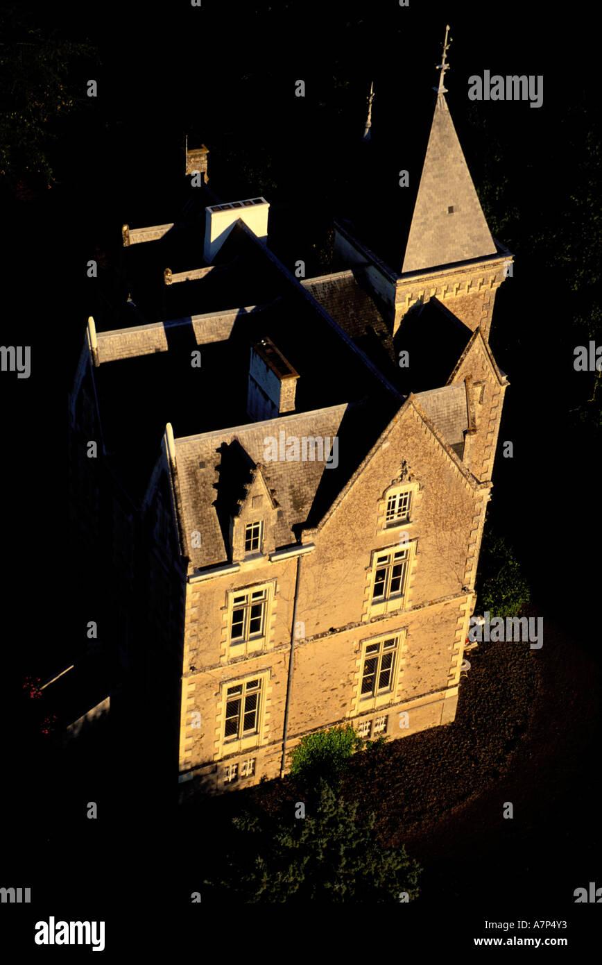 a3ea7ae86f France, Maine-et-Loire, Coteaux du Layon's vineyard, a mansion (aerial view)