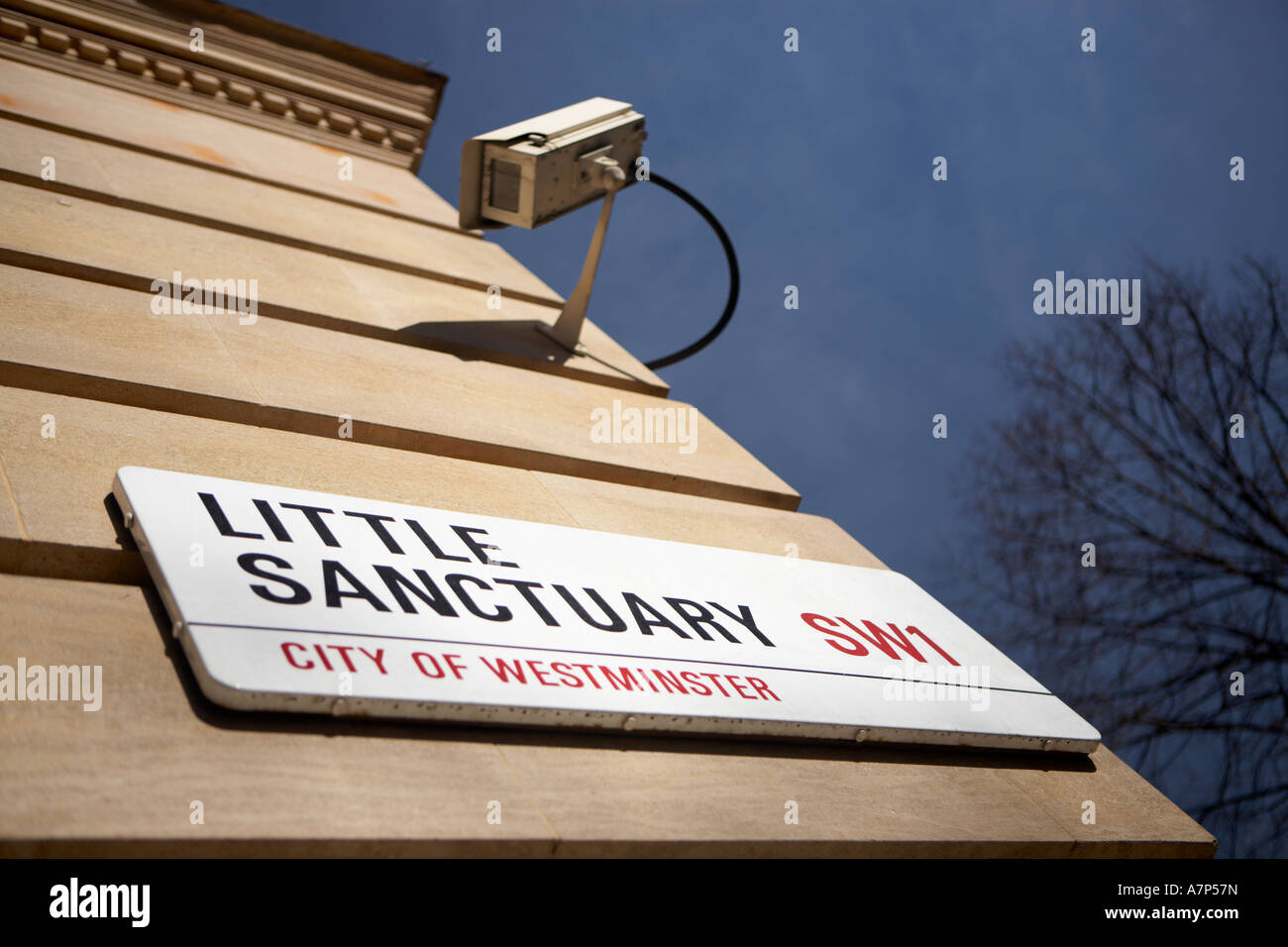 Little Sanctuary at Parliament Square SW1 and a CCTV security camera in London city England UK - Stock Image