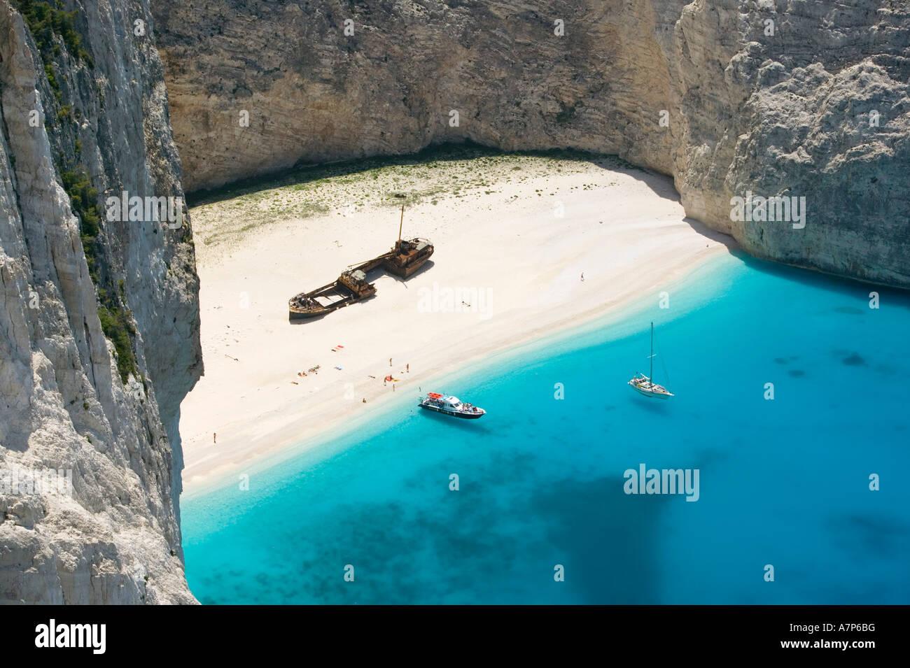 Shipwreck (Navagio) Beach, Zakynthos, Ionian Islands, Greece - Stock Image
