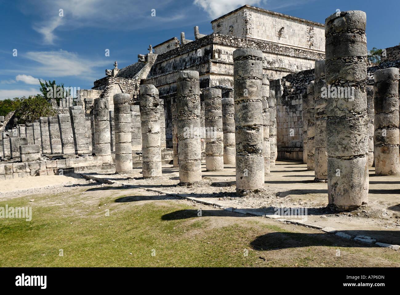 Templo de los Guerreros temple of the warriors Maya and Toltec archeological site Chichen Itza Yucatan Mexico - Stock Image