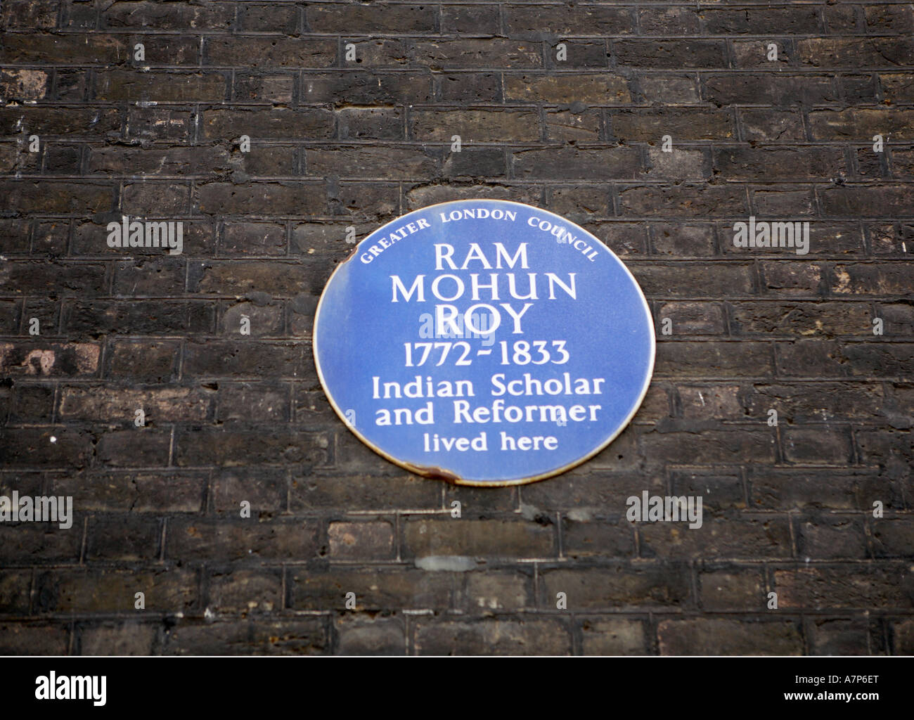 Plaque at Bedford Square WC1 London city England UK reading Greater London Council Ram Mohun Roy - Stock Image