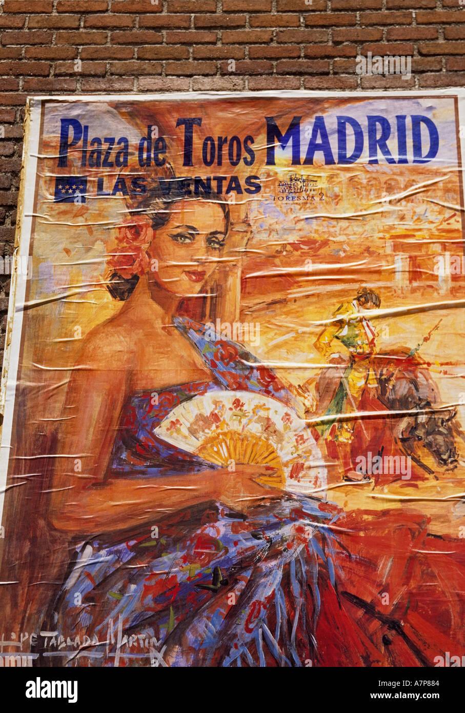 Spain Madrid Plaza Monumental de Las Ventas Plaza de Toros bullfight stadium poster on brick wall - Stock Image