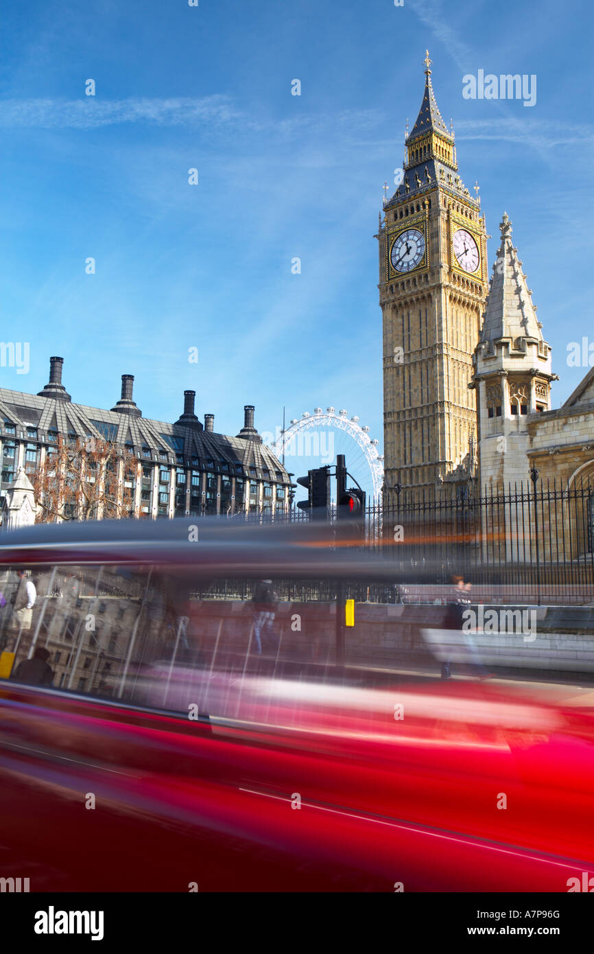 Taxi speeding past Big Ben at Parliament Square SW1 in London city England UK 16 03 2007 - Stock Image