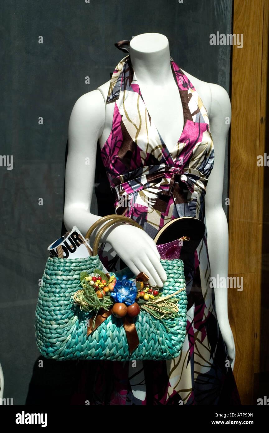 Daikanyama Tokyo Japan fashion dress window purse - Stock Image