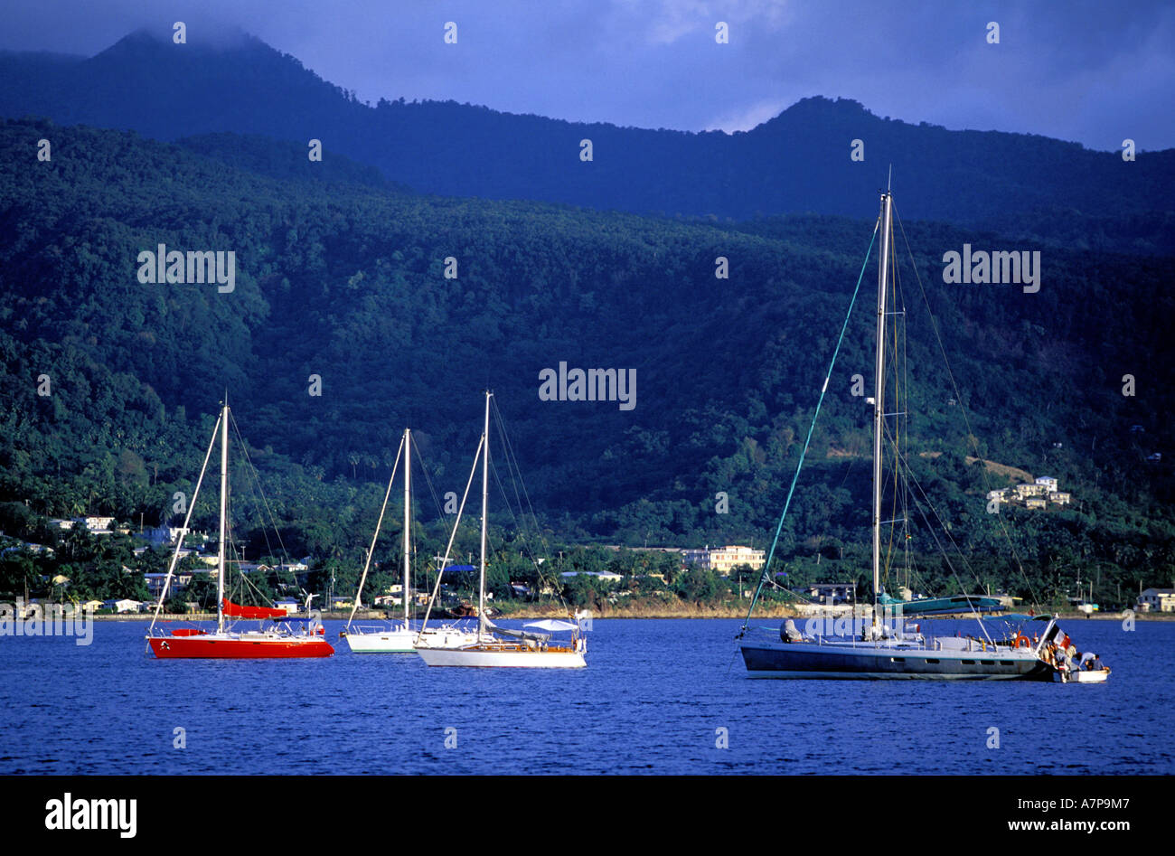 Dominica, Northern coast, West part, Porstmouth, famous bay where lots of yachts are at anchor Stock Photo