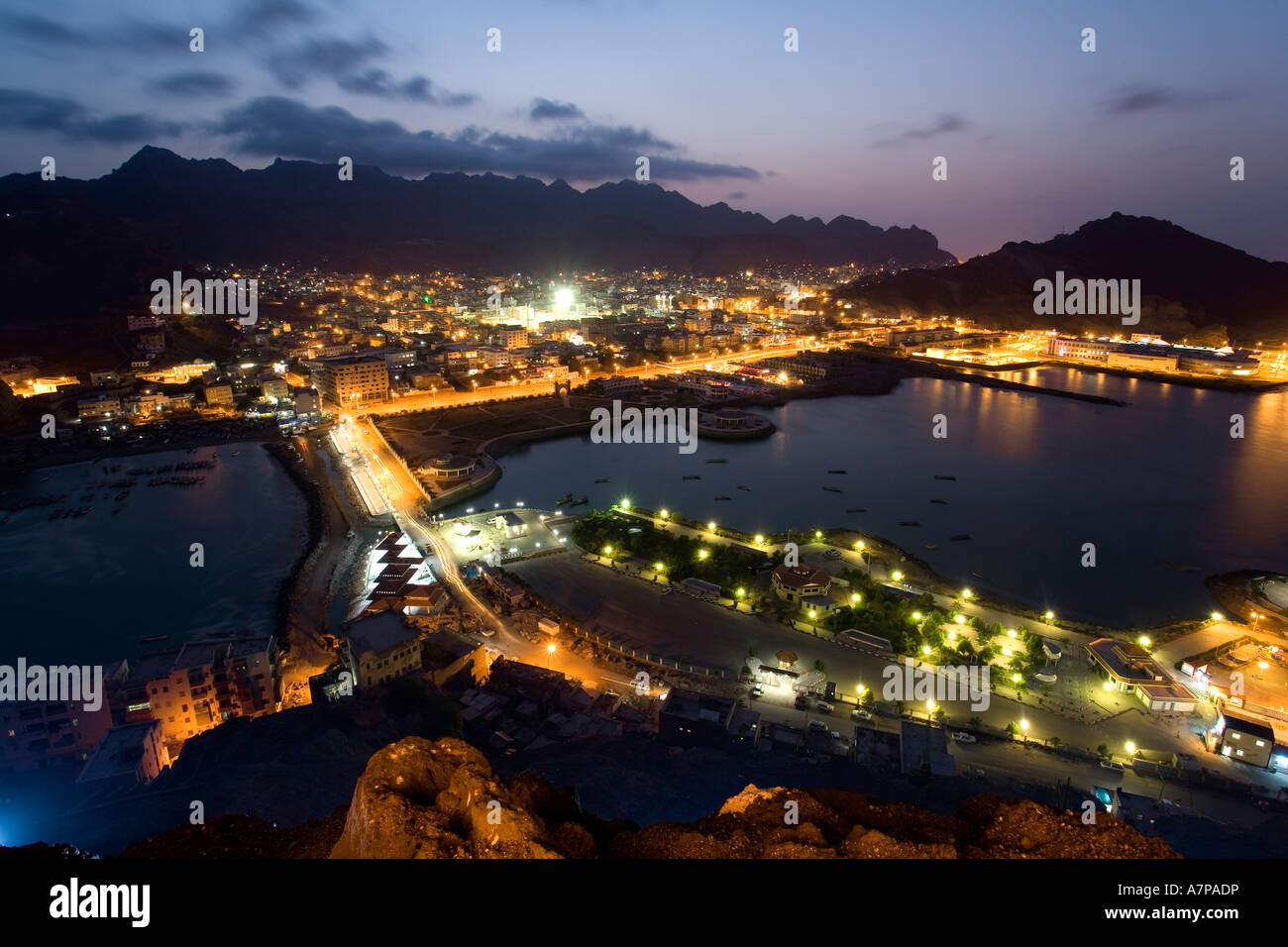 View of Crater Quarter from Sira Island, Aden, Yemen - Stock Image