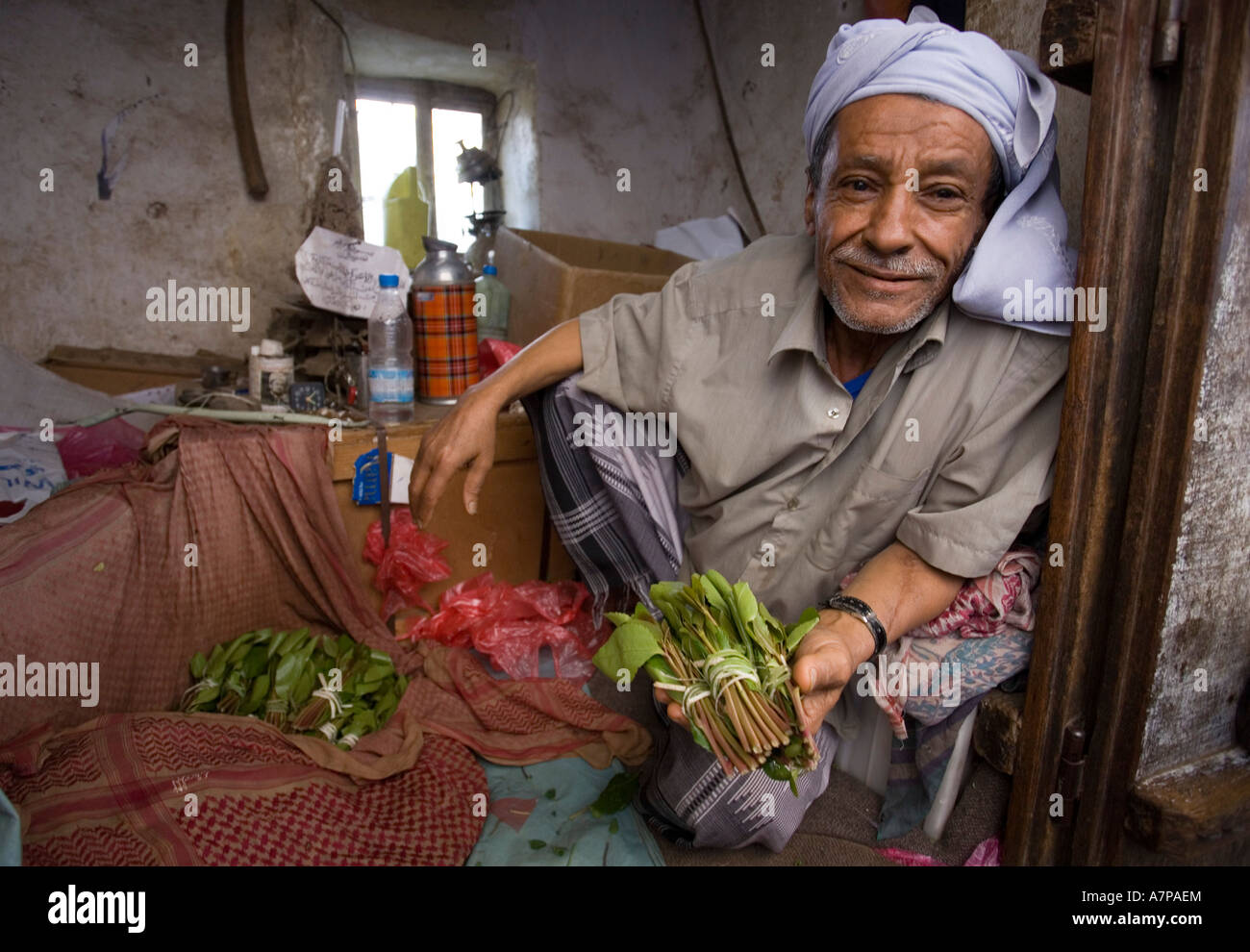 The infamous mild narcotic 'Qat' for sale on the streets of Jibla mountain village, Yemen - Stock Image