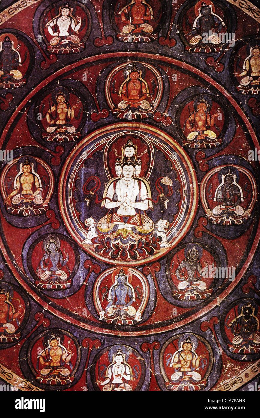 mandala at Alchi monastery, India, Ladakh - Stock Image
