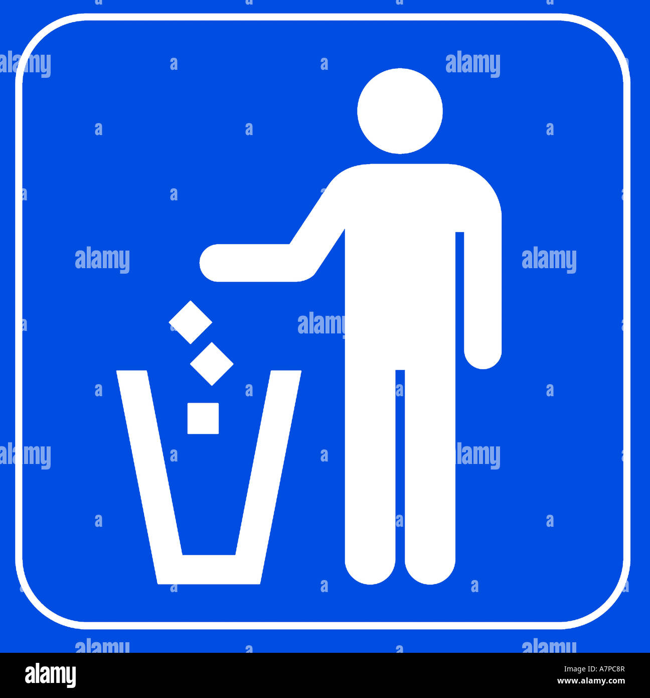 No Littering Symbol On Blue Background Stock Photo 11889574 Alamy