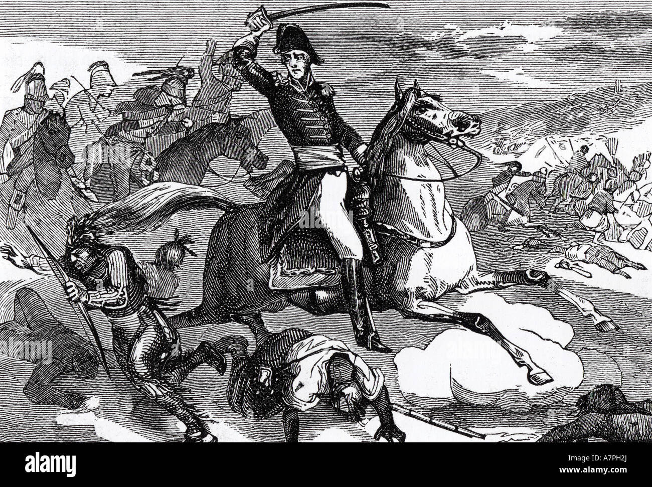 ANDREW JACKSON US general and later President at the Battle of  Tallushatchee on 3 November 1813 Stock Photo