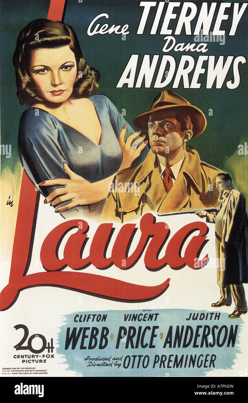 LAURA poster for 1944 TCF film with Gene Tierney and Dana Andrews - Stock Image