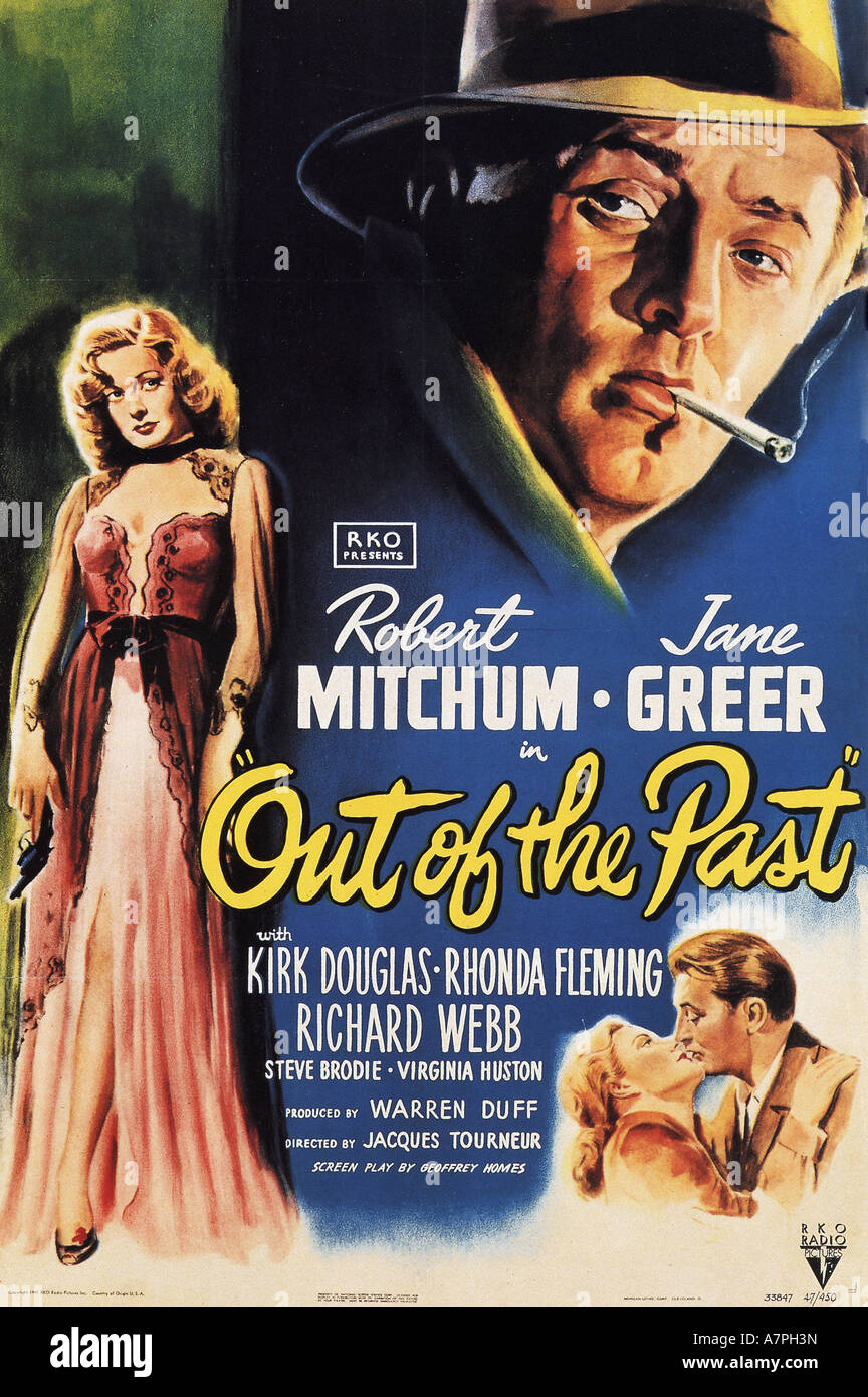 OUT OF THE PAST poster for 1947 RKO film with Robert Mitchum and Jane Greer - Stock Image