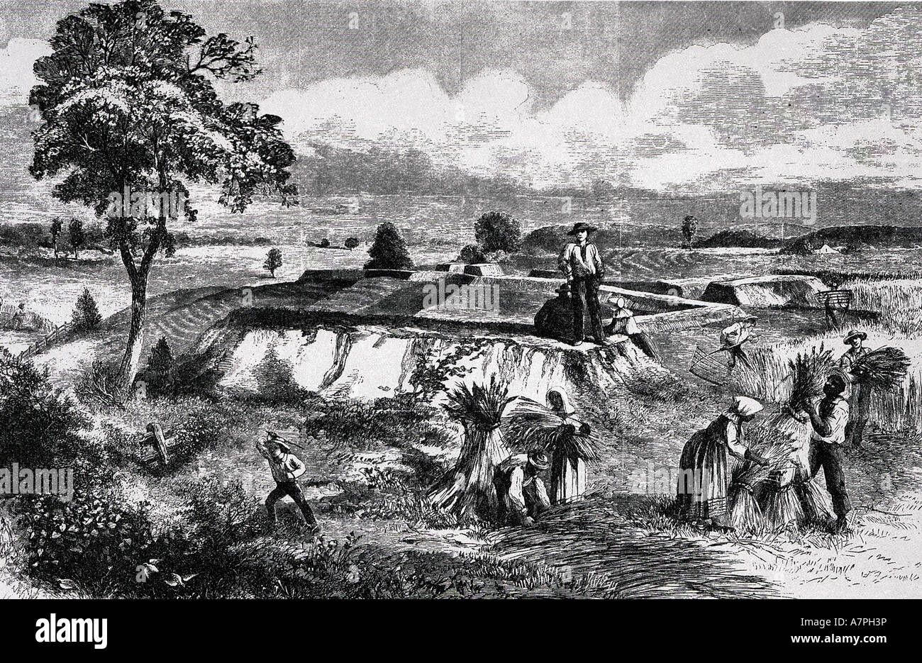 RECONSTRUCTION  an optimistic view published in 1867 of  developments in the American South after the Civil War - Stock Image
