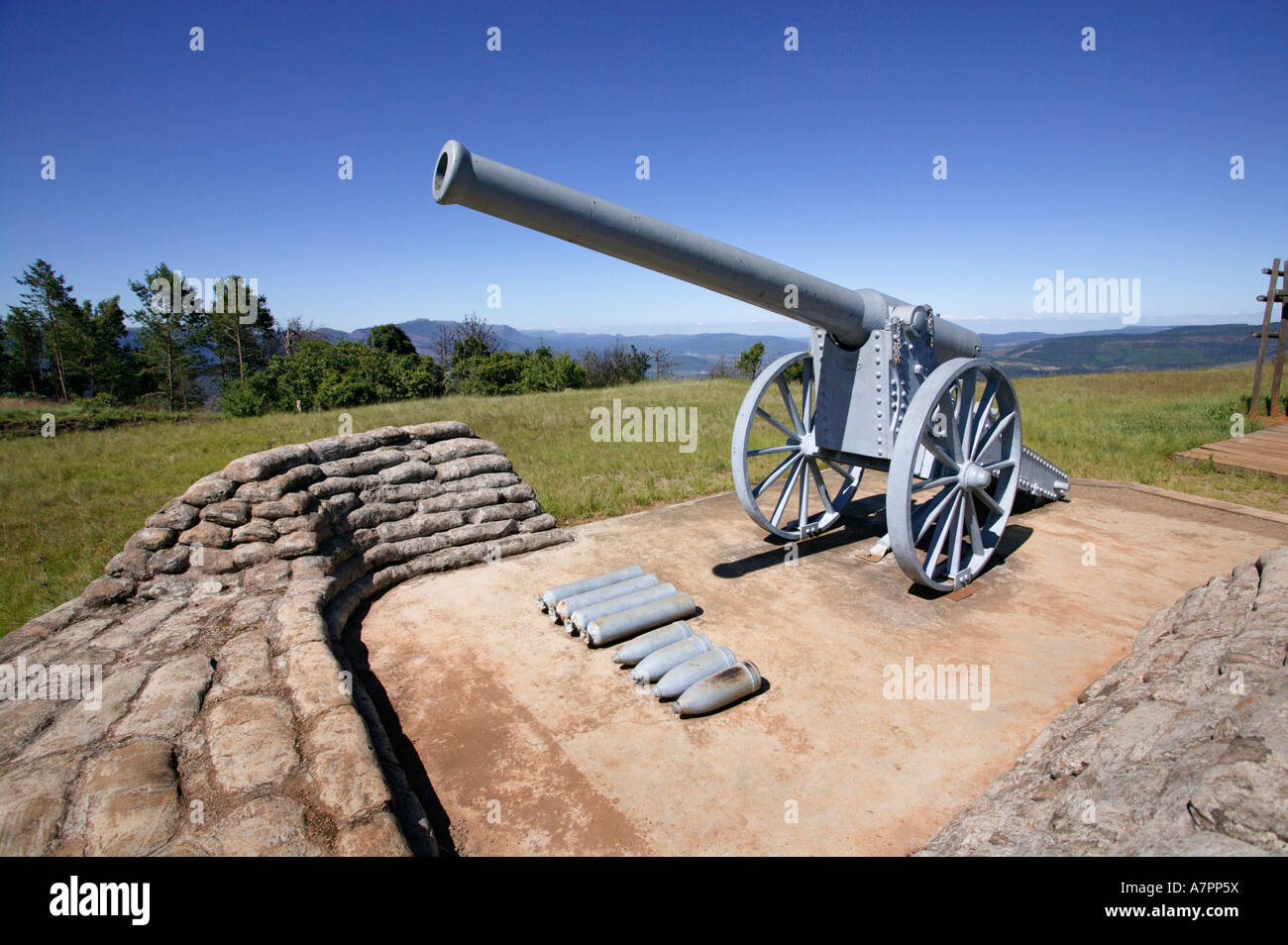 The Long Tom Canon on Long Tom pass near Sabie the canon was used in the Anglo Boer War 1899 1902 Long Tom Pass - Stock Image