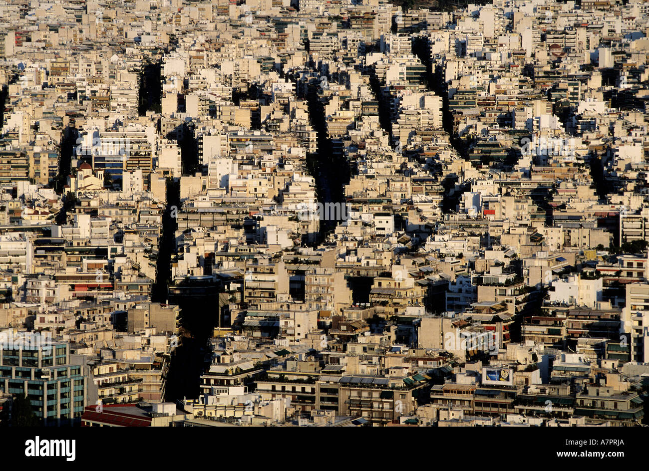 Greece, Athens, the city-center is excessively urbanized - Stock Image