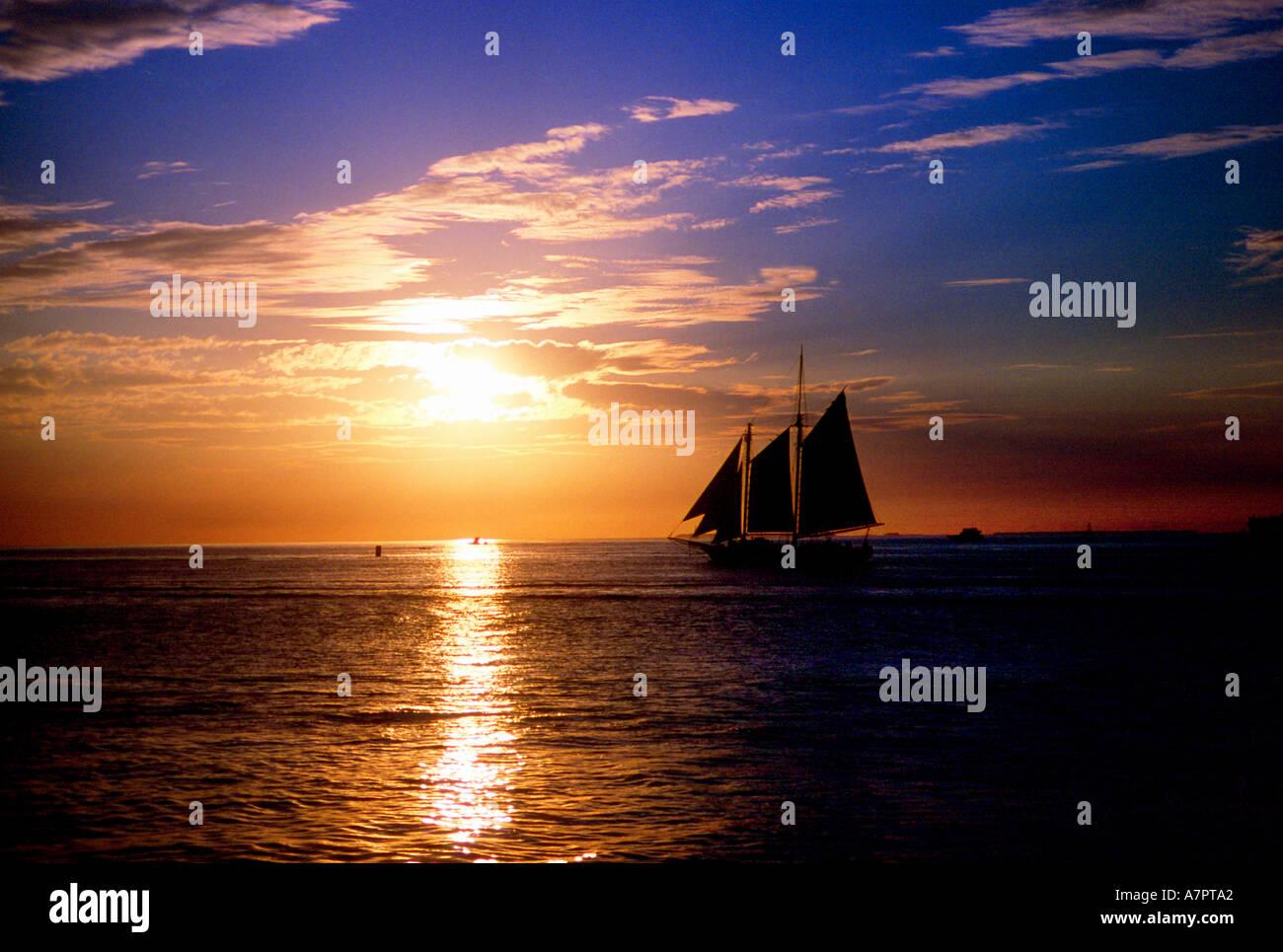 Key West Sunset Florida U.S.A. - Stock Image
