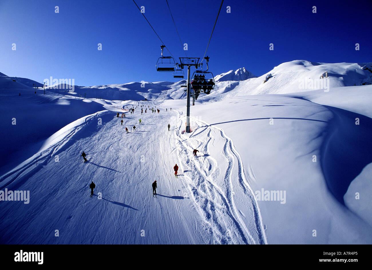 France, Savoie, skiing area of Les Arcs ski resort - Stock Image