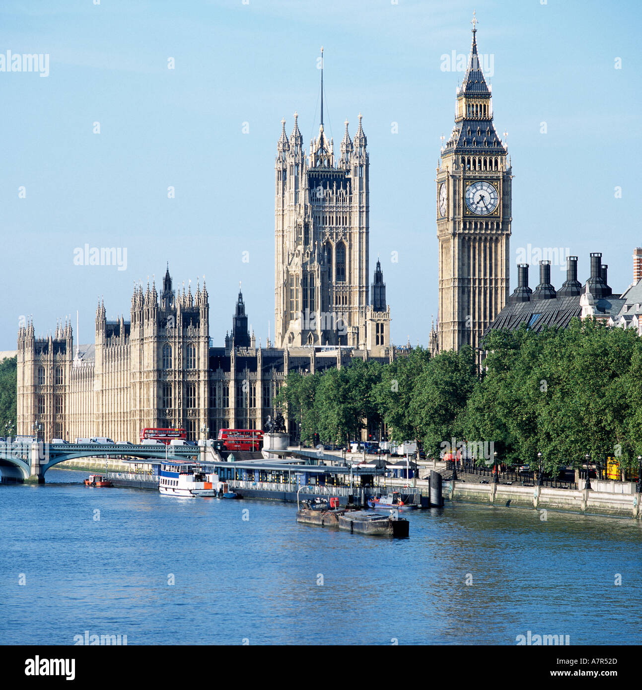 Big Ben and Houses of Parliament River Thames London Stock Photo