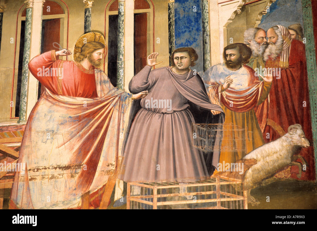"Italy, Venetia, Padua, ""Scrovegni chapel, frescoes by Giotto (Jesus chasing away the merchants with his fist raised) Stock Photo"