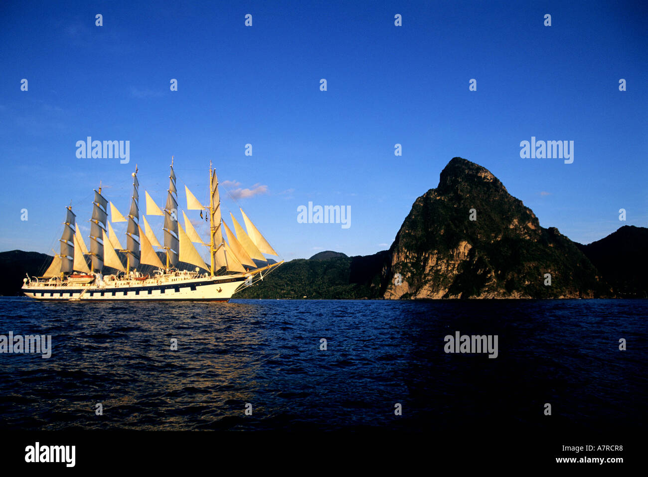 St Lucia Caribbean Sea: Caribbean Sea, St Lucia Island, The Five Masted Ship SPV