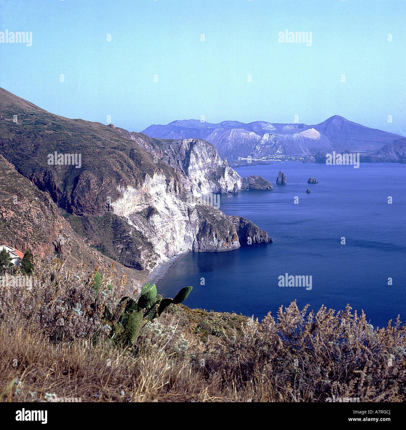 Rock formations at coast, Aeolian Islands, Sicily, Italy Stock Photo