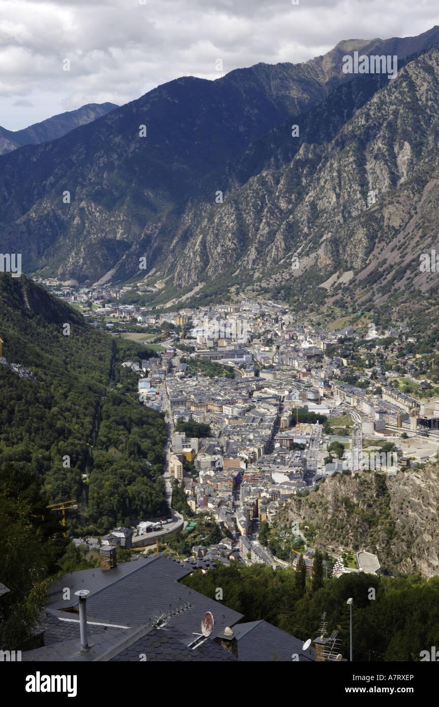 Aerial view of city, Andorra La Vella, Andorra Stock Photo