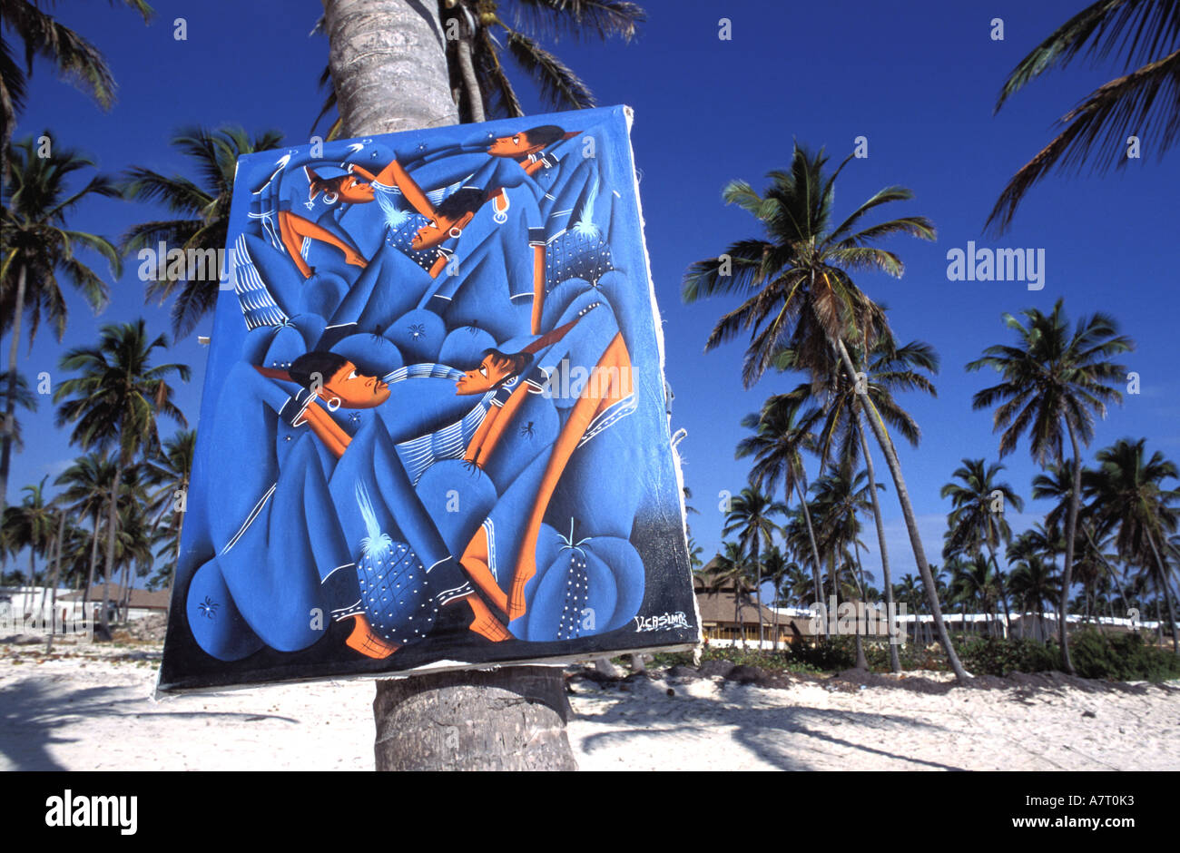 Dominican Republic, Punta Cana, the coconut coast, naive painting on the beach of Playa Bavaro - Stock Image