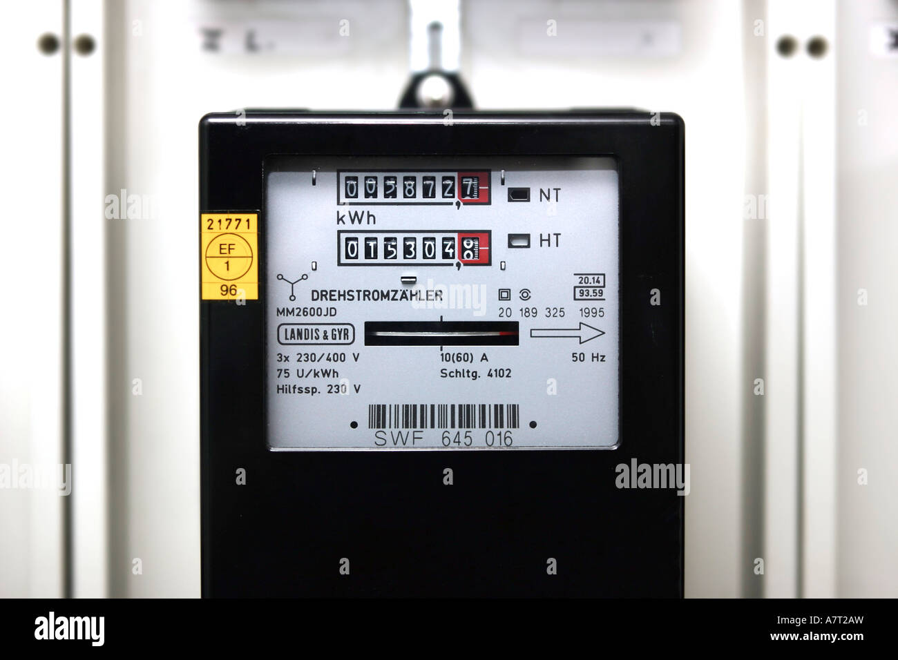 Close-up of electric meter - Stock Image