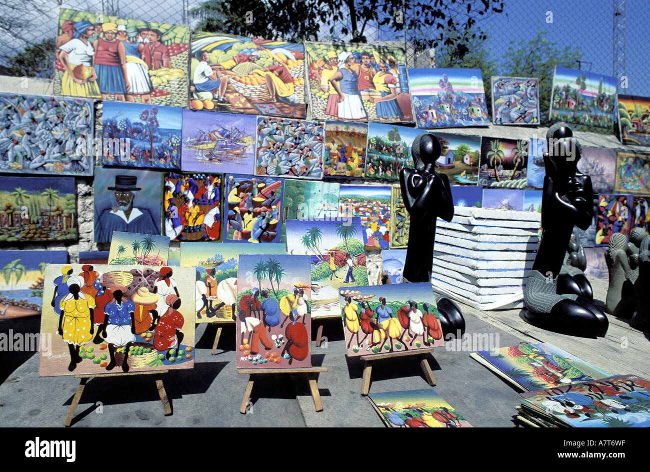 Haiti, Port au Prince, naive painting for sale - Stock Image