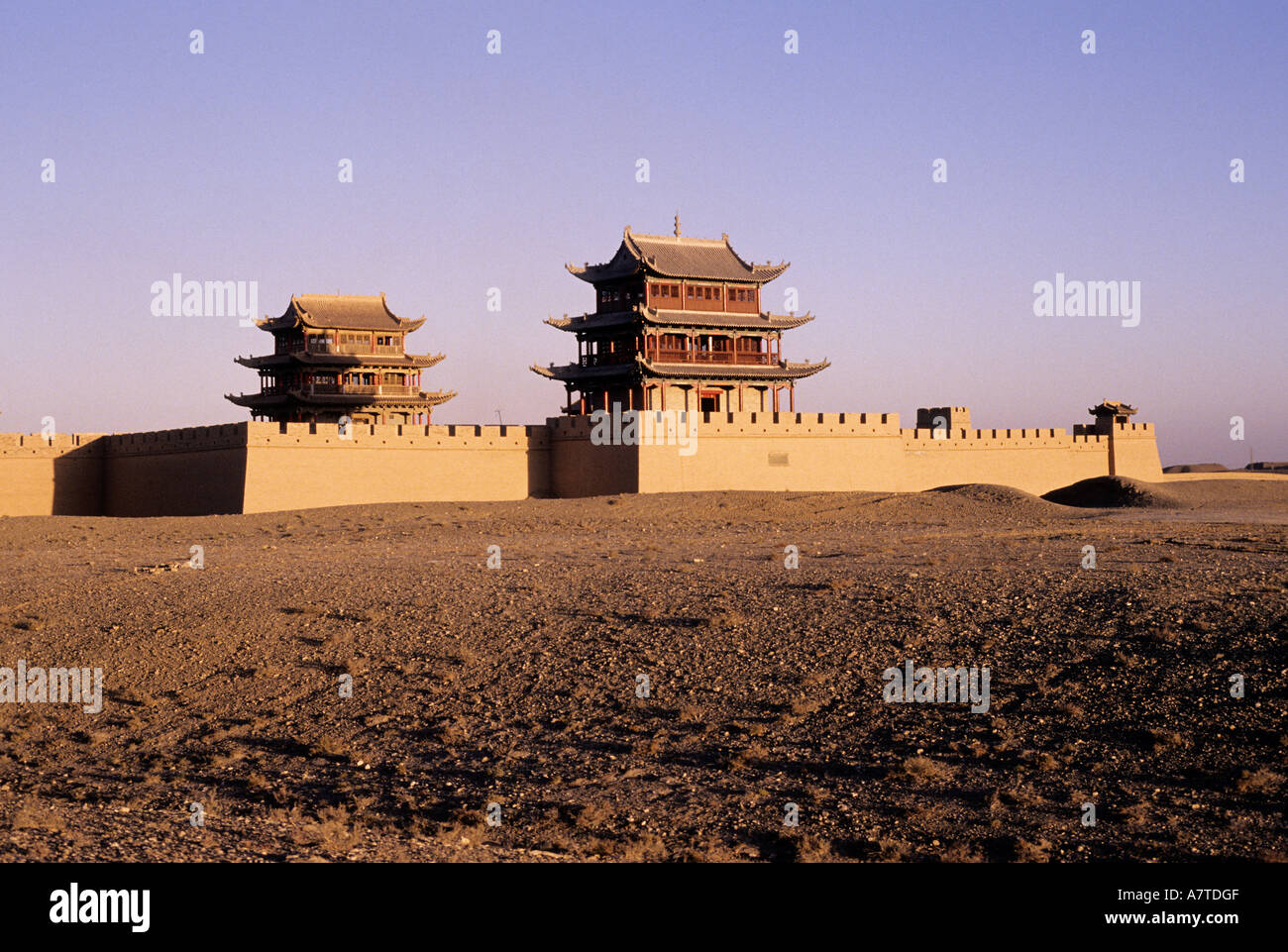 China, Jiayuguan fort marks the Western end of the Great Wall of China Stock Photo