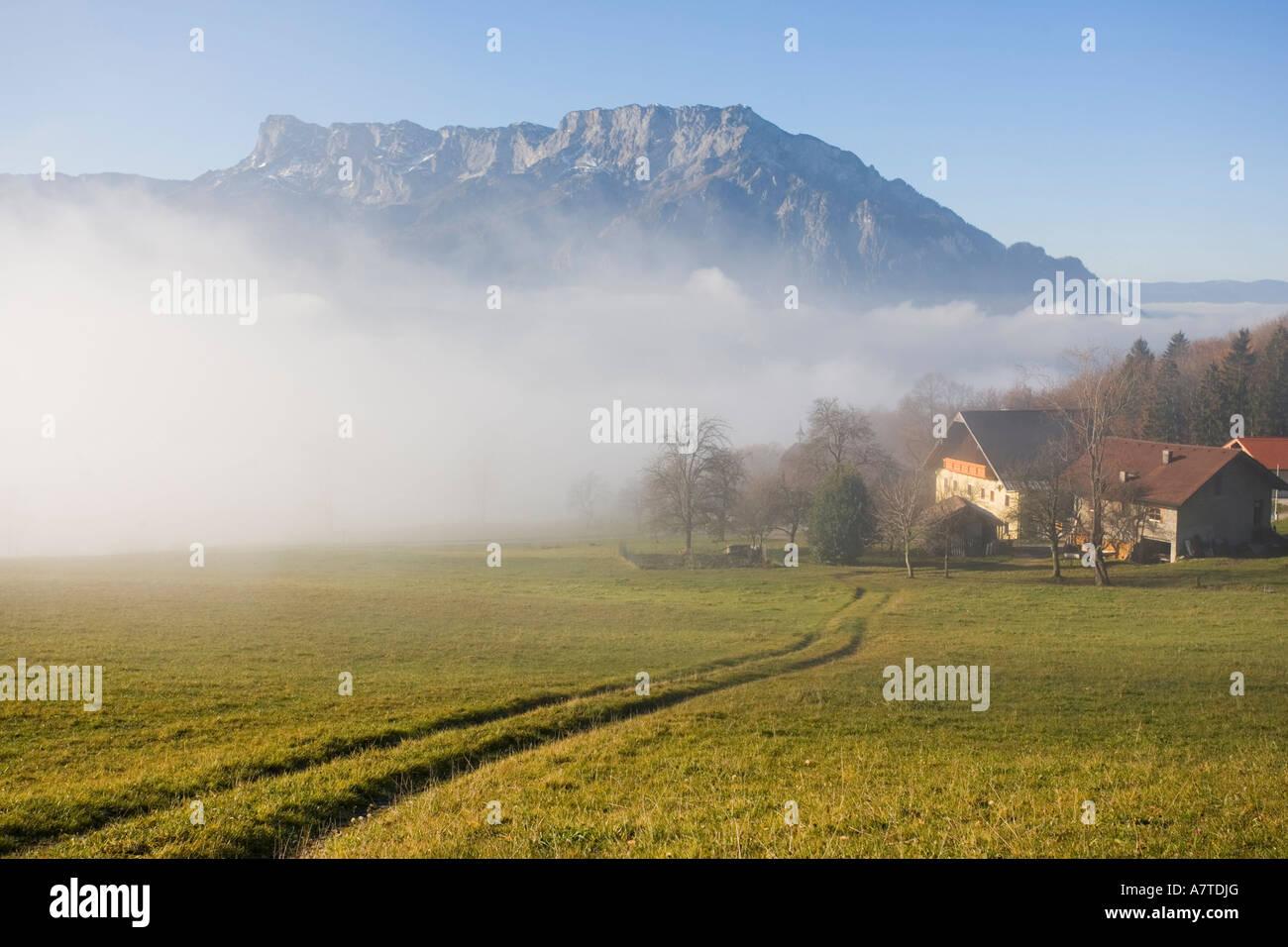 Farmhouse in field, Puch bei Hallein, Salzachtal Valley, Untersberg, Salzburg, Austria - Stock Image