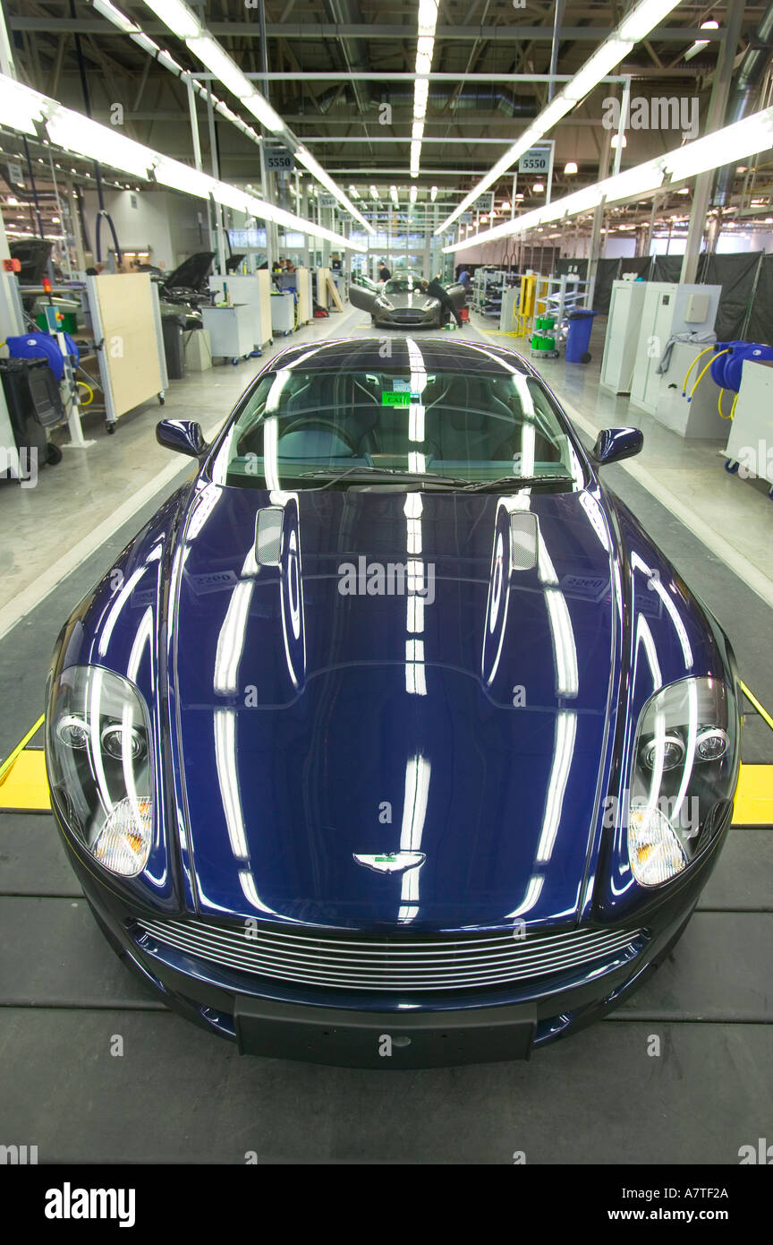 An Aston Martin DB9 on the production line - Stock Image
