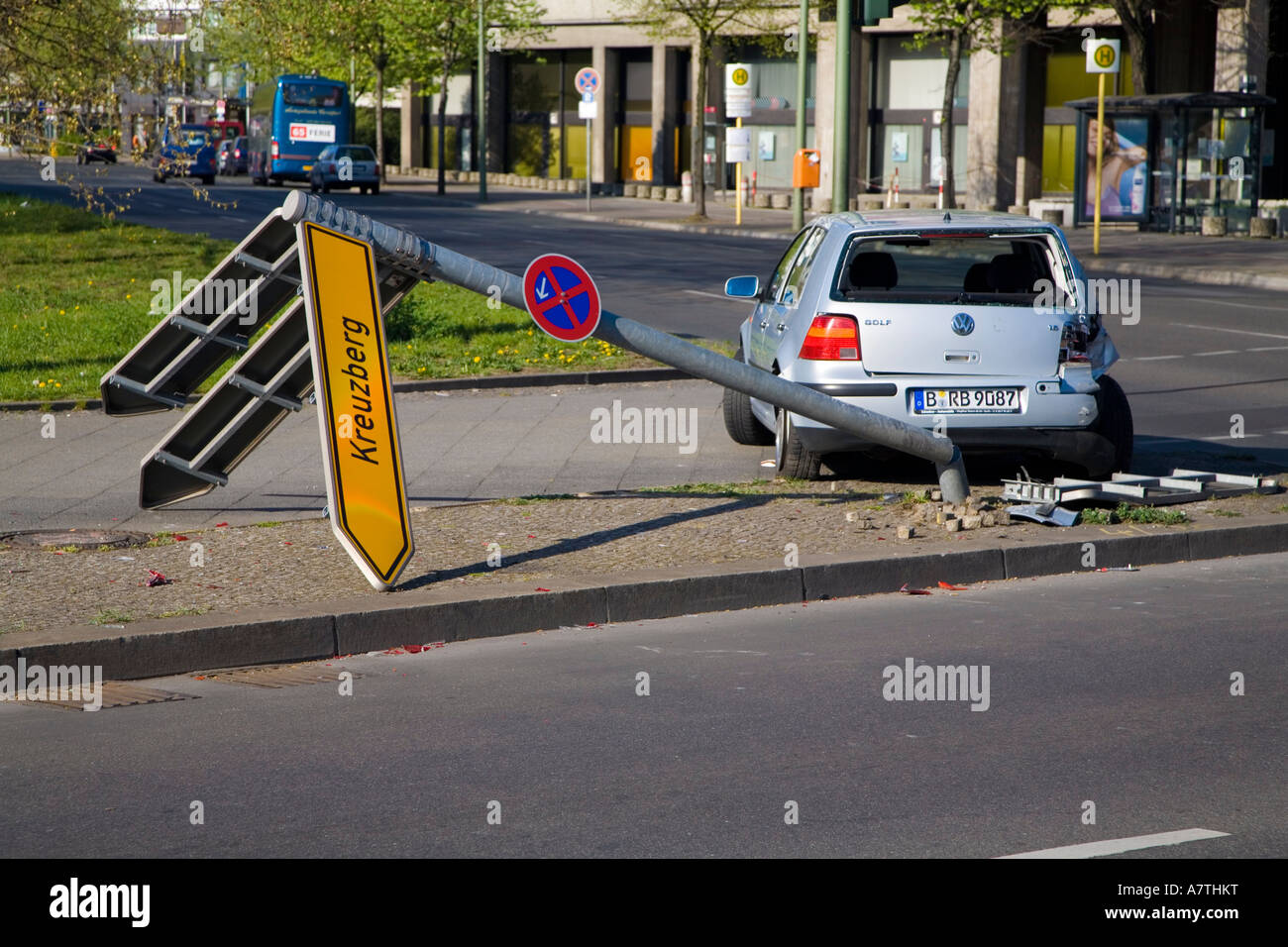 Crashed Car  After Accident Berlin Germany Deutschland - Stock Image