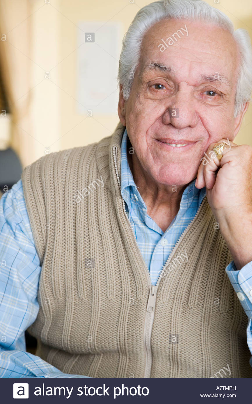Portrait of an elderly man in  a retirement home Stock Photo