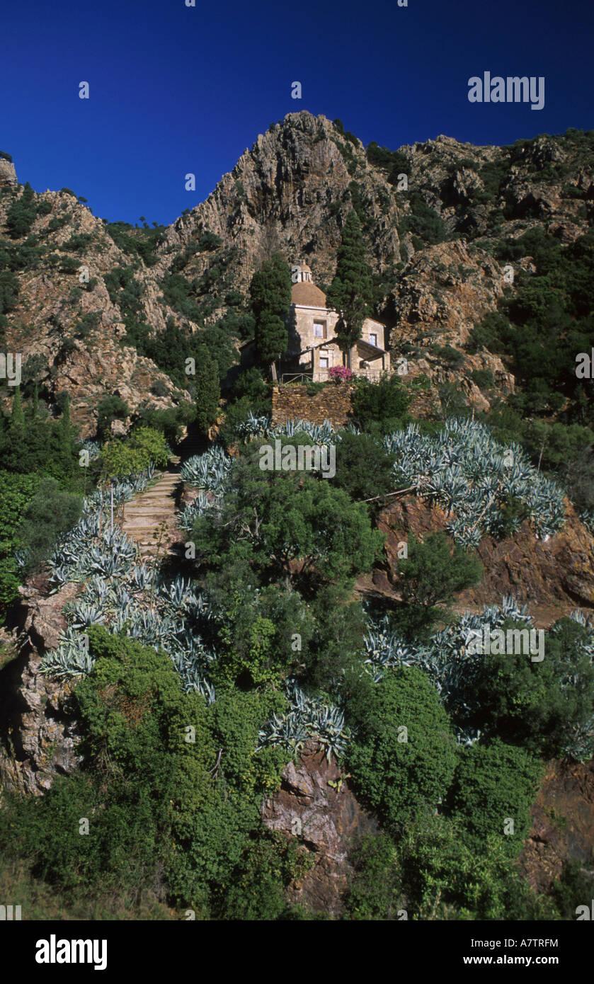 Low angle view of church on mountain, Elba Island, Tuscany, Italy - Stock Image
