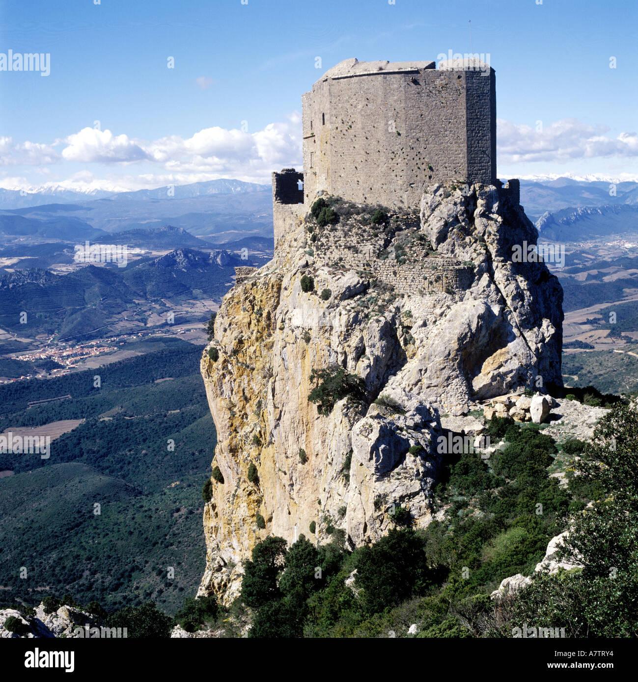 France, Aude, cathar castle of Queribus Stock Photo   Alamy