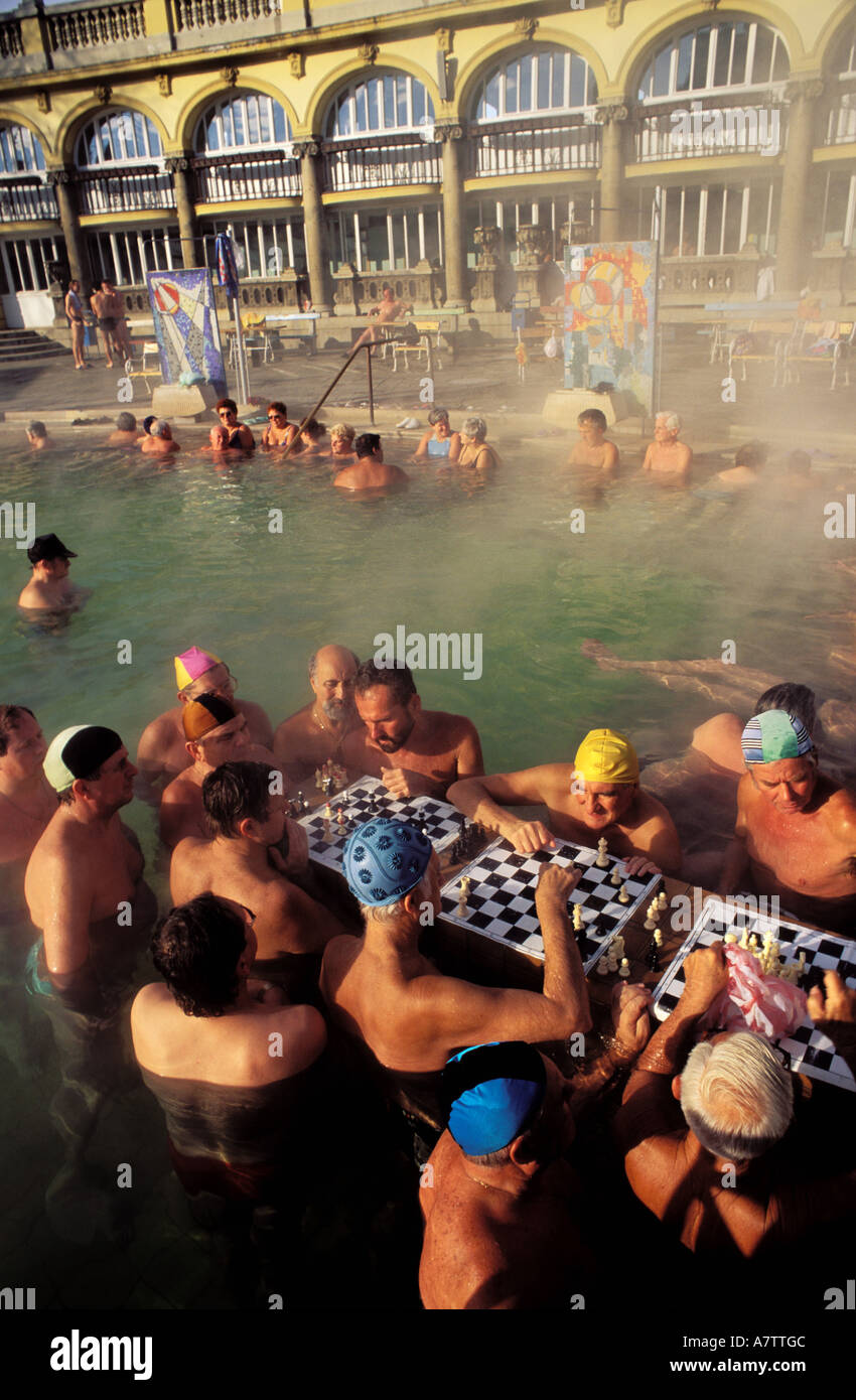 Hungary, Budapest, chess players in the famous bath of Szechenyl in Pest District - Stock Image