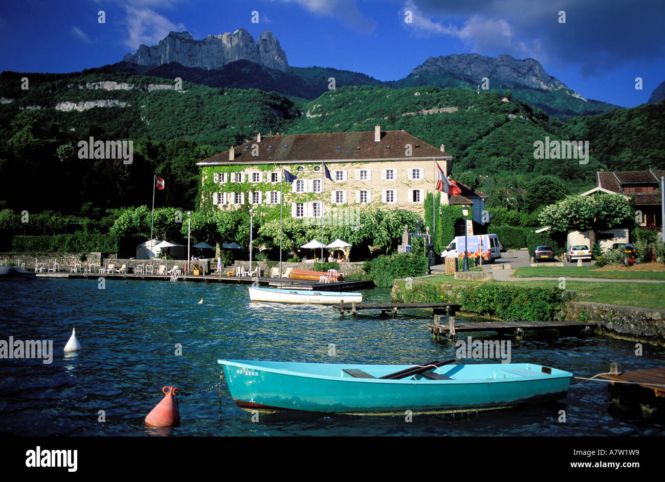 France haute savoie annecy lake talloires hotel of the abbey stock photo 6808152 alamy for Lake annecy hotels swimming pool