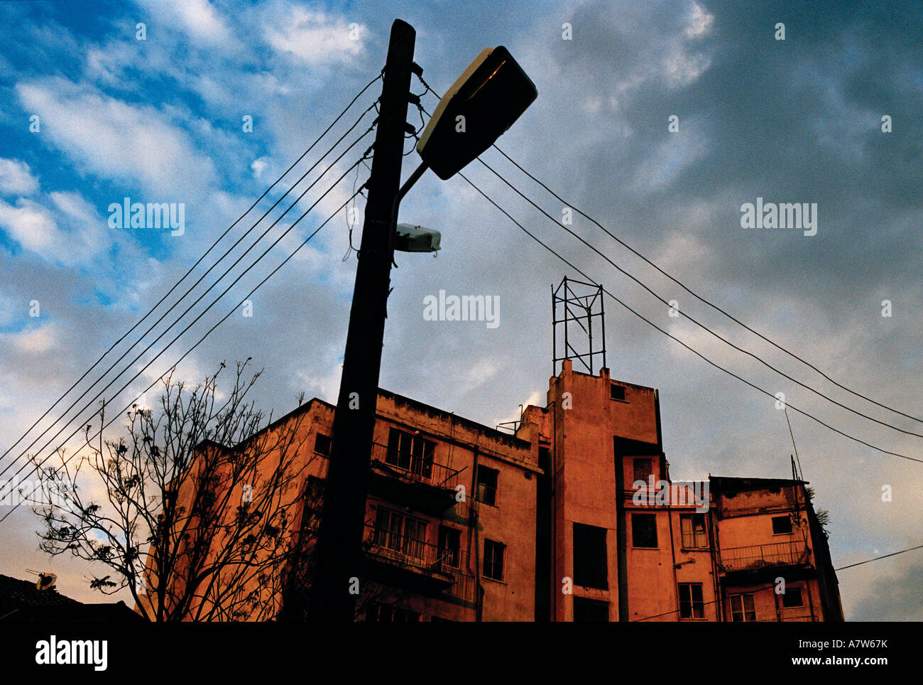 Telephone Pole Wires Lamppost Stock Photos & Telephone Pole Wires ...