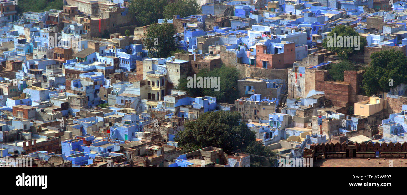Jodhpur Blue City Panoramic view of Old Houses from Mehrangarh Fort Rajasthan India Stock Photo