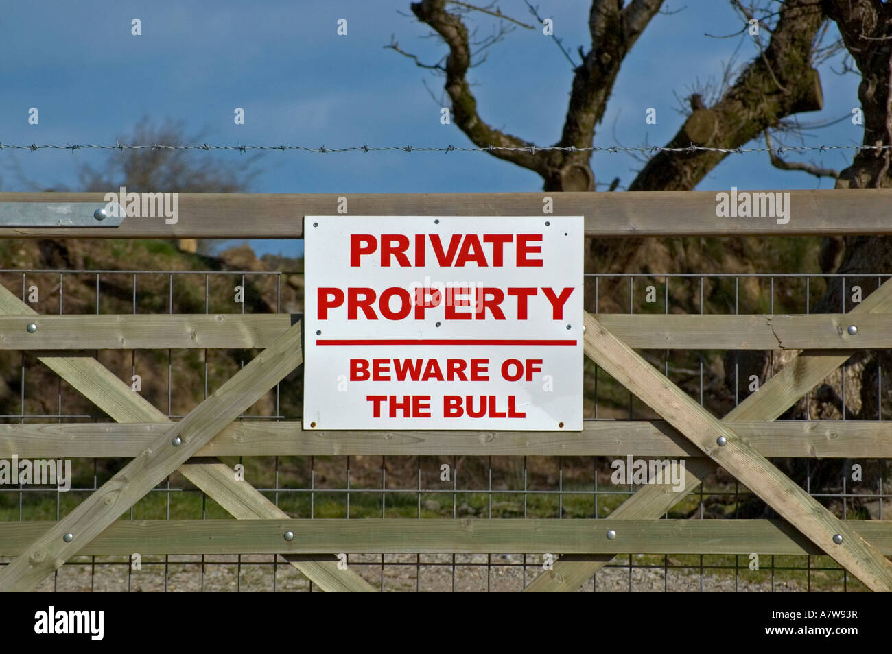 a beware of the bull sign on a farm gate in england - Stock Image