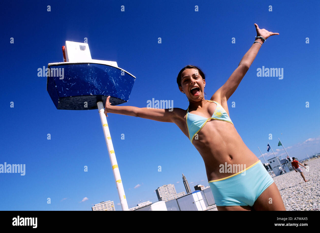 France, Seine Maritime, Le Havre, teenager on the beach - Stock Image