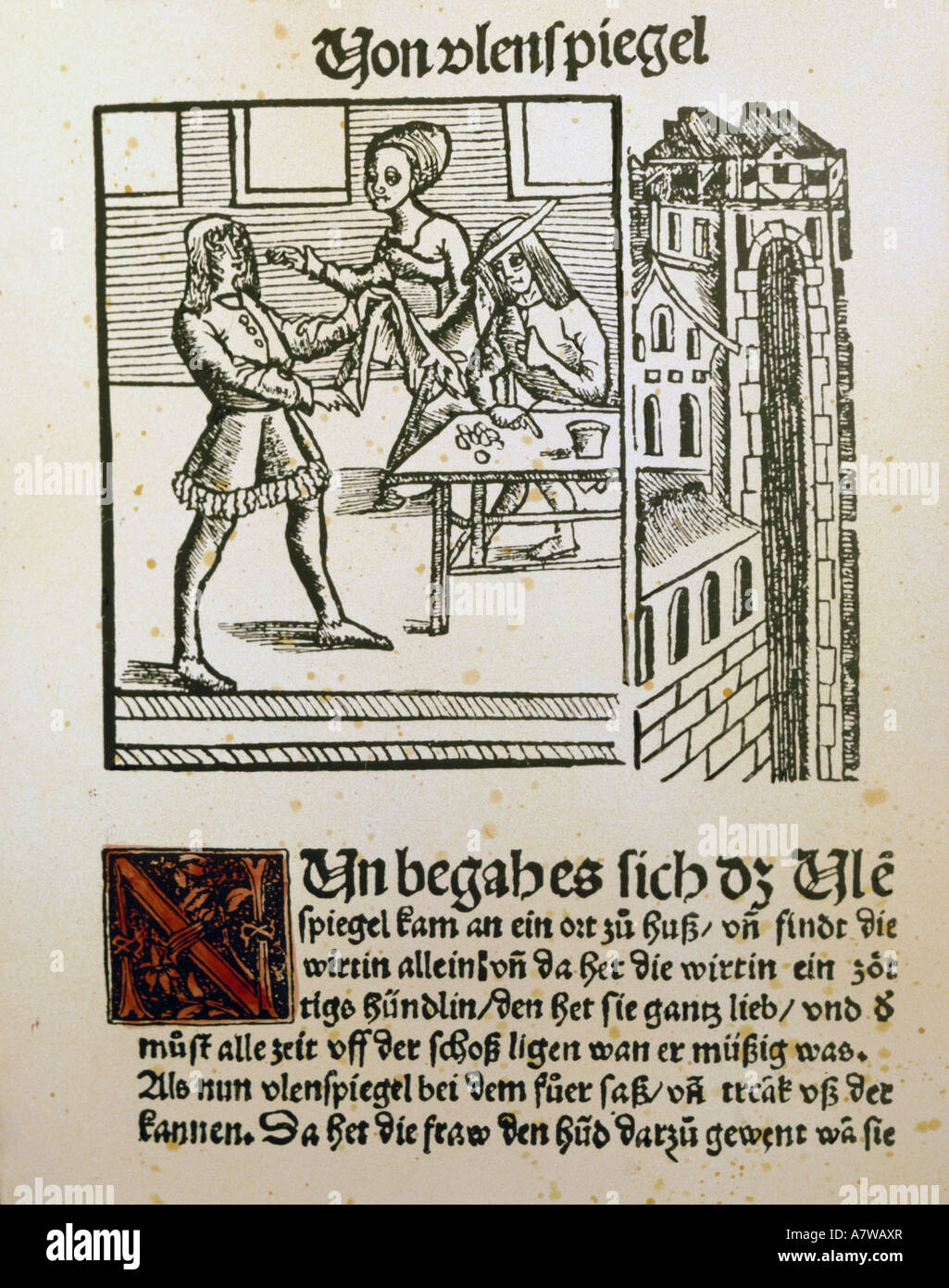 literture, 'Eulenspiegel', title of the 2nd collection of droll stories, printed by Johannes Grüninger, - Stock Image